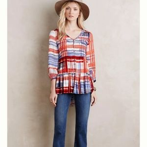 Mauve Anthropologie Lila Tiered Tunic Top Blouse Plaid Peplum Button Up Size S